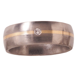 8mm Titanium Band Satin with Diamond and 14K Gold Inlay