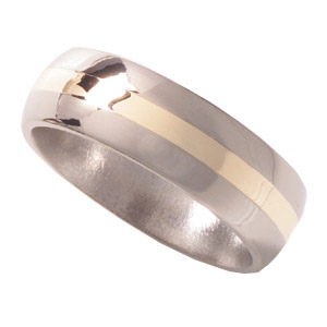 8mm Titanium Band Domed with 14K Gold Inlay