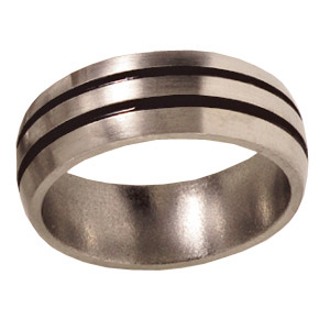 8mm Titanium Band Satin Domed with Grooves