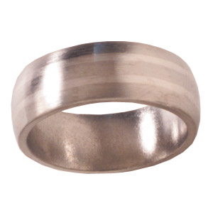 8mm Titanium Band Satin Domed with Platinum Inlays