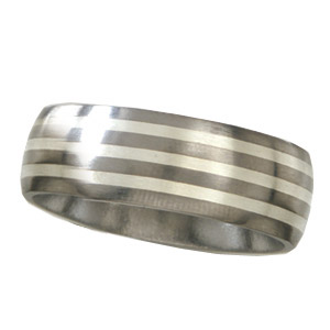 Titanium 8mm Satin Wedding Band with Sterling Silver Inlays