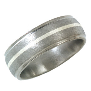 Titanium 8mm Stone Finish Wedding Band with Sterling Silver Inlay and Grooved Edges