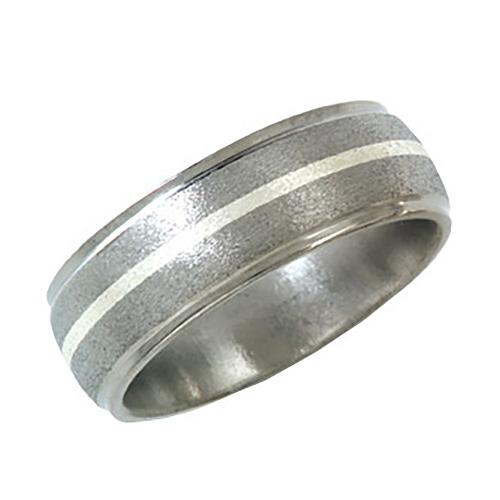 Titanium 8mm Stone Finish Wedding Band Sterling Silver Inlay