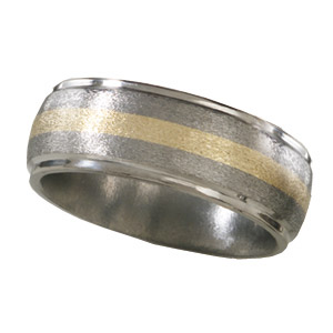 8mm Titanium Band with 14K Gold Inlay and Stone Finish