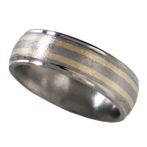 8mm Stone Titanium Band with 14kt Yellow Gold Inlays and Grooved Edges