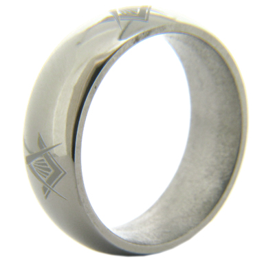 8mm Domed Titanium Masonic Ring Compass & Square Times Four