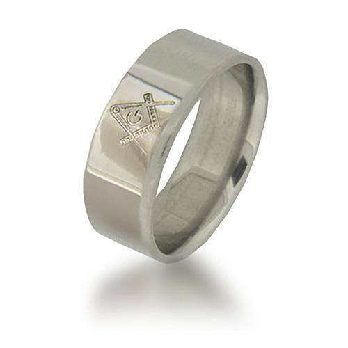 Titanium 8mm Polished Masonic Ring