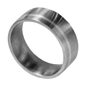 8mm Satin Titanium Band with 14kt White Gold Inlay