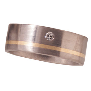 8mm Titanium Band with Diamond and 14K Gold Inlay