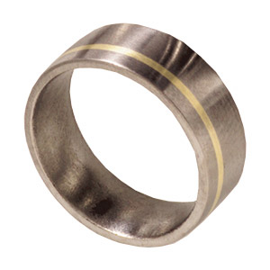 8mm Titanium Satin Band with 14kt Yellow Gold Inlay
