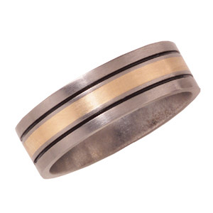 8mm Titanium Band with 14K Gold Inlay and Black Enamel