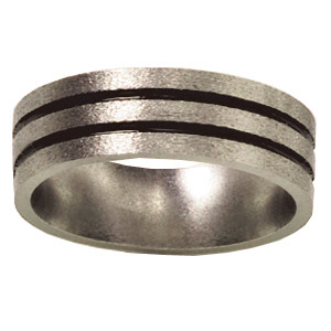 8mm Titanium Band Stone Finish with Grooves