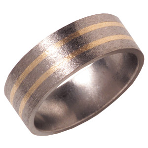 8mm Titanium Band Stone with 14K Gold Inlays