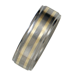 8mm Titanium Satin Band with 14kt Yellow Gold Inlays