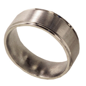 8mm Titanium Band Satin with Grooved Edges