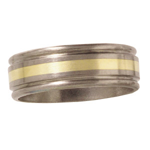 8mm Satin Titanium Band with 14kt Yellow Gold Inlay