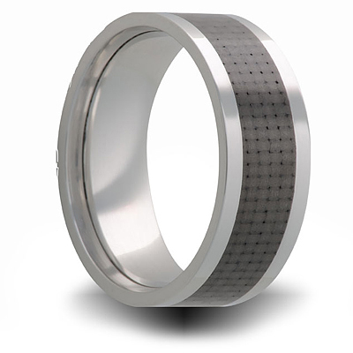 8mm Titanium Ring with Carbon Fiber Inlay