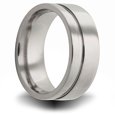 Titanium 8mm Pipe Cut Ring with Offset Groove
