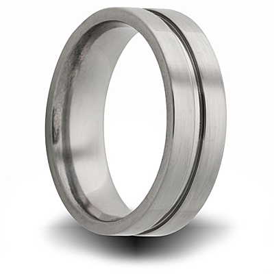 Titanium 8mm Pipe Cut Ring with Groove