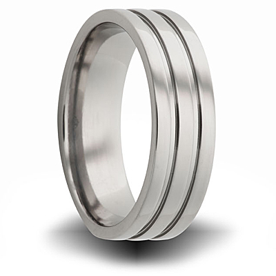Titanium 8mm Pipe Cut Ring with Grooves