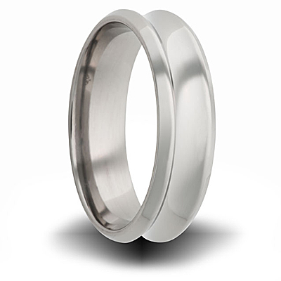 Titanium 8mm Concave Ring with Beveled Edge