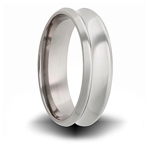 Titanium 8mm Concave Ring with Beveled Edge