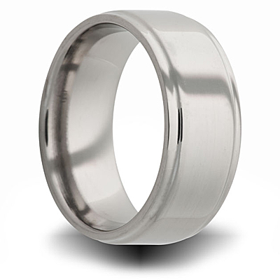 Titanium 8mm Pipe Cut Ring with Step Down Edge