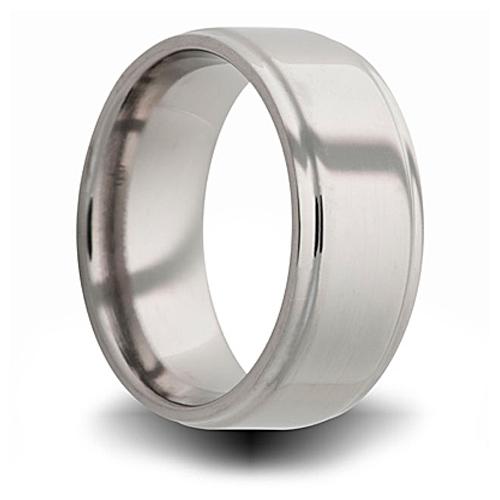 Titanium 8mm Pipe Cut Ring with Step Down Edge