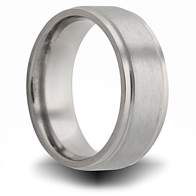 Titanium 8mm Pipe Cut Ring with Beveled Edge