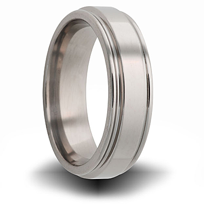 Titanium 8mm Pipe Cut Ring with Rounded Edge
