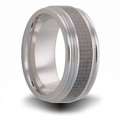 Titanium Ring with Gray Carbon Fiber Inlay and Rounded Edges 8mm