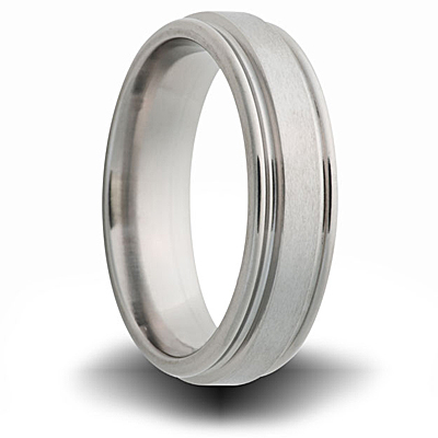 Titanium 8mm Pipe Cut Ring with Ridged Edges