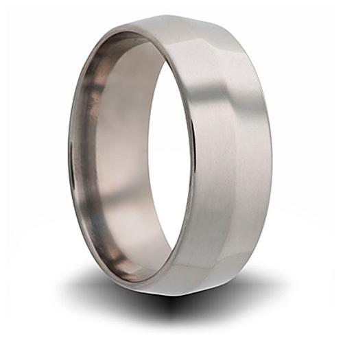 Titanium 8mm Center Bevel Ring