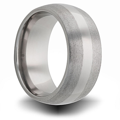Titanium 8mm Domed Ring Sandblast Finished Edges