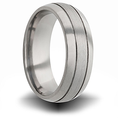 Titanium 8mm Domed Ring with Grooves and Brushed Finish