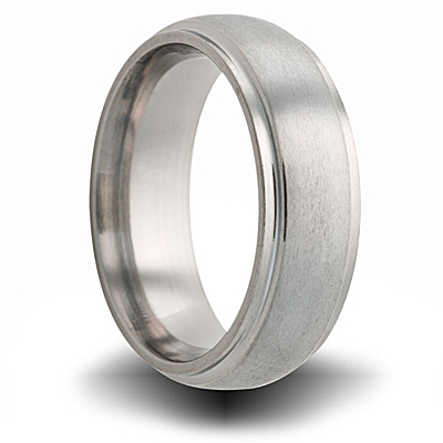 Titanium 8mm Domed Brushed Ring with Step Down Edges