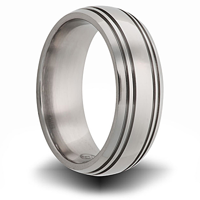Titanium 8mm Ring with Four Grooves