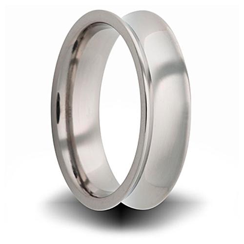 Titanium 8mm Concave Ring