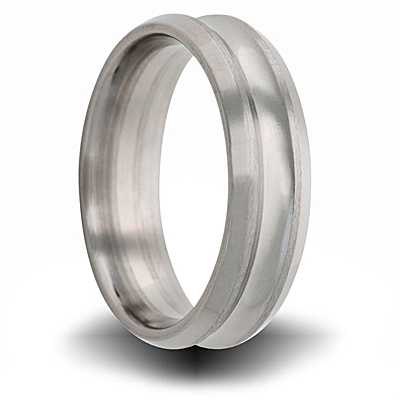 Titanium 8mm Concave Brushed Ring