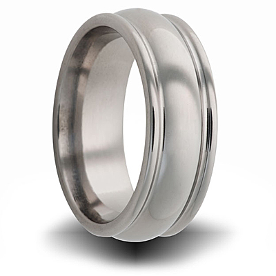 Titanium 8mm Domed Ring with Rounded Edges