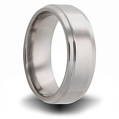 Titanium 8mm Pipe Cut Ring with Beveled Edges