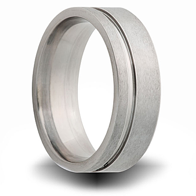 Titanium 8mm Pipe Cut Ring with Groove and Brushed Finish