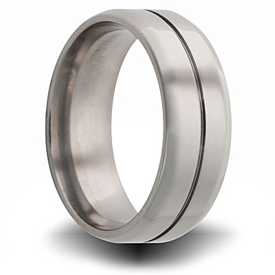 Titanium 8mm Band with Beveled Edges Center Groove