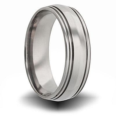 Titanium 8mm Center Bevel Ring with Grooves