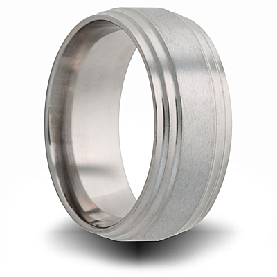 Titanium 8mm Band with Brushed Center and Step Edges