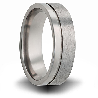 Titanium 8mm Brushed and Polished Ring with Groove