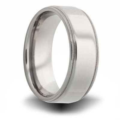 Titanium 8mm Milgrain Pipe Cut Ring