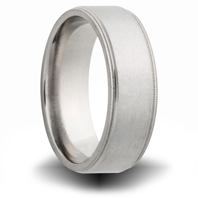 Titanium 8mm Milgrain Pipe Cut Ring with Brushed Finish