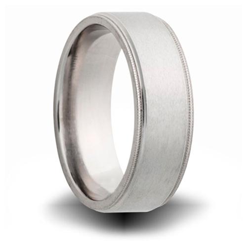 Titanium 8mm Milgrain Pipe Cut Ring