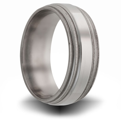Titanium 8mm Double Milgrain Band